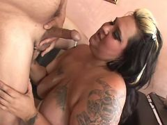 Fat slut gets fuck and cum on tits bbw porn