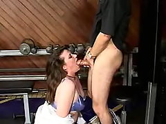 Sweet fatty gives head in gymnasium bbw porn