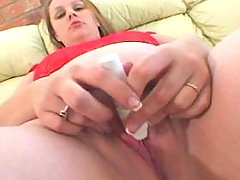 Fat blonde girl plays with dildo on sofa bbw porn
