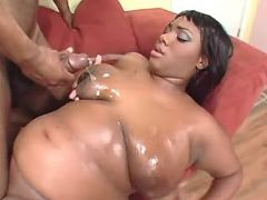 Chubby ebony milf gets cum on boobs bbw porn