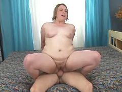 Chubby milf suck cock and rides him