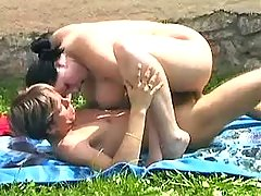 Chubby brunette rides strong cock in nature bbw porn