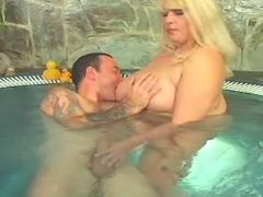 Fat blonde cutie spoils guy in pool bbw porn
