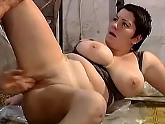 Fatty jumping on cock in warehouse bbw porn