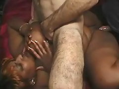Paunchy ebony gets cum after orgy bbw porn