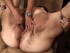 Lewd fat mature gets cumload on boobs after fuck bbw porn