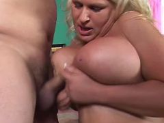 Blonde plumper titsfucks and sucks bbw porn